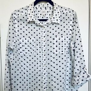 Nordstrom Caslon Black & White Heart Polka Dot